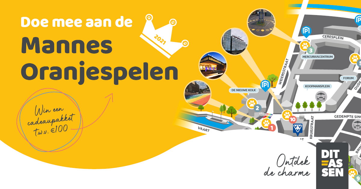Mannes Oranjespelen: gratis speelroute binnenstad Assen